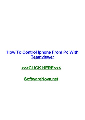 controllare iphone da pc teamviewer