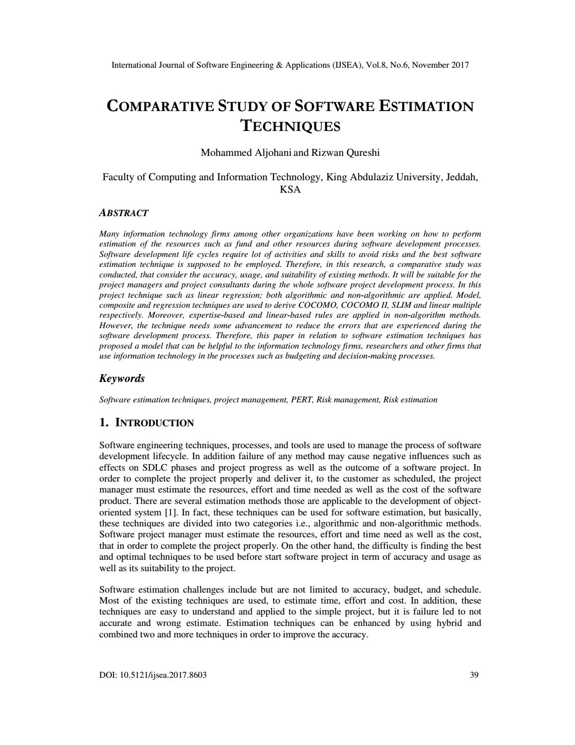 Comparative Study of Software Estimation Techniques by