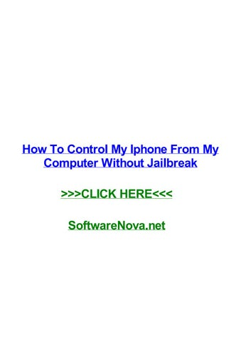 How to control my iphone from my computer without jailbreak by