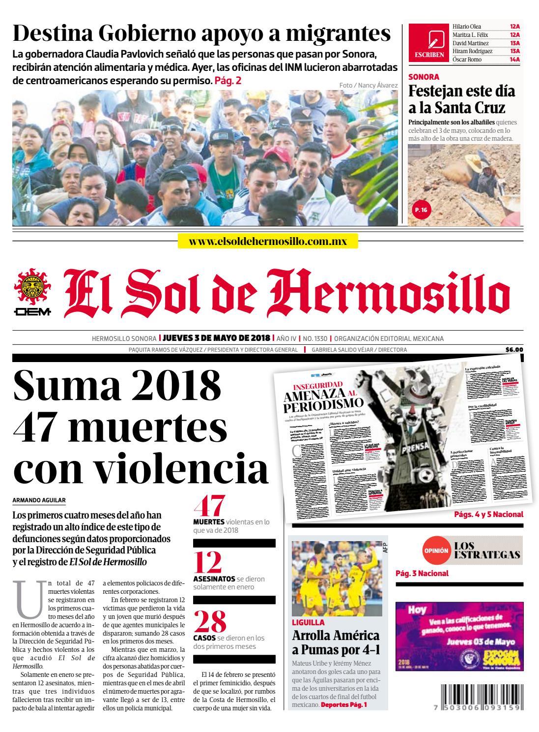 cb890a54b Edición impresa 3 de mayo 2018 by El Sol de Hermosillo - issuu
