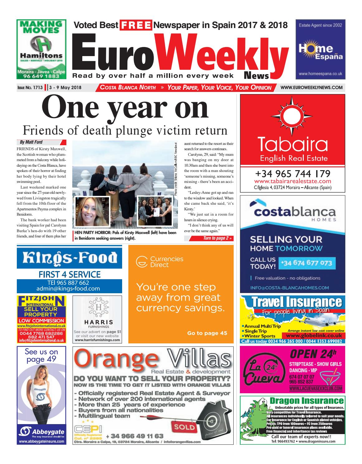 53d0f4d5b Euro Weekly News - Costa Blanca North 3 - 9 May 2018 Issue 1713 by Euro  Weekly News Media S.A. - issuu
