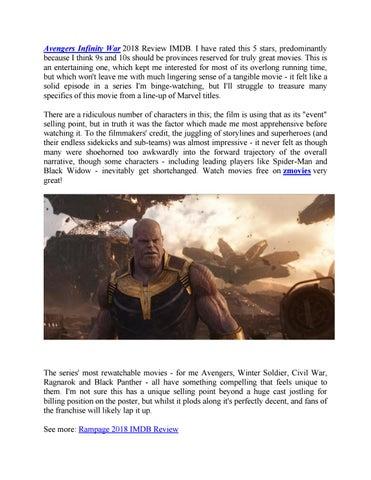Avengers Infinity War 2018 Review Imdb By Amy J Issuu