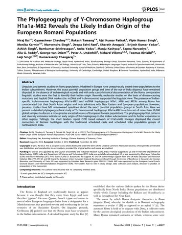 Likely Indian Origin of the European Romani Populations by Neerja