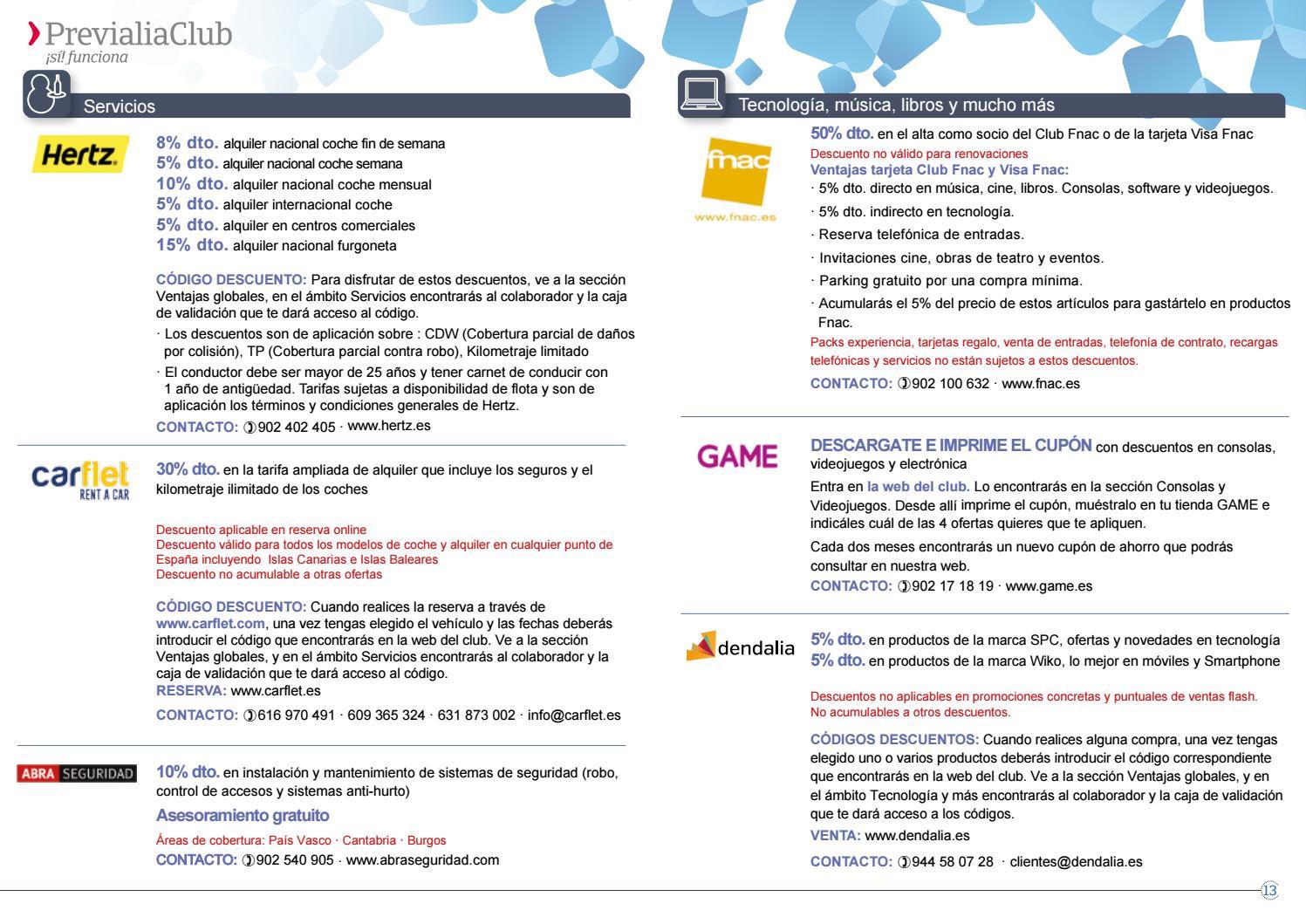Catálogo de ventajas de ahorro ahorro ahorro Previalia club by Previsora Bilbaina 021175