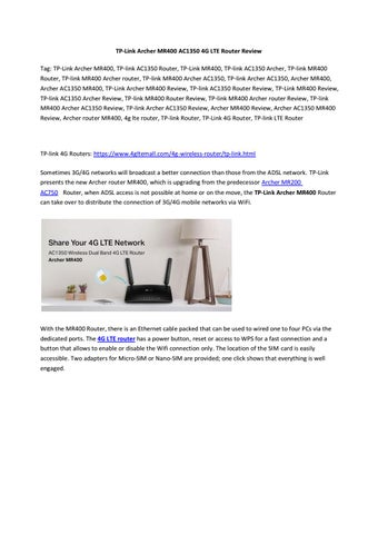 TP-Link Archer MR400 AC1350 4G LTE Router Review by Lte Mall - issuu
