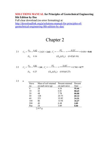 solutions manual for principles of geotechnical engineering 8th rh issuu com introduction to geotechnical engineering solution manual pdf geotechnical engineering coduto solutions manual pdf
