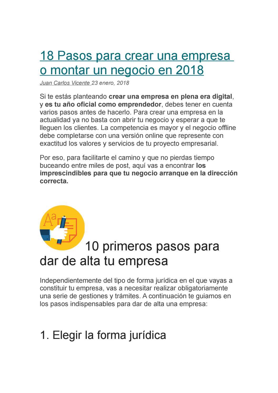 18 Pasos Para Crear Una Empresa O Montar Un Negocio En 2018 By Paolo Quintanilla Issuu