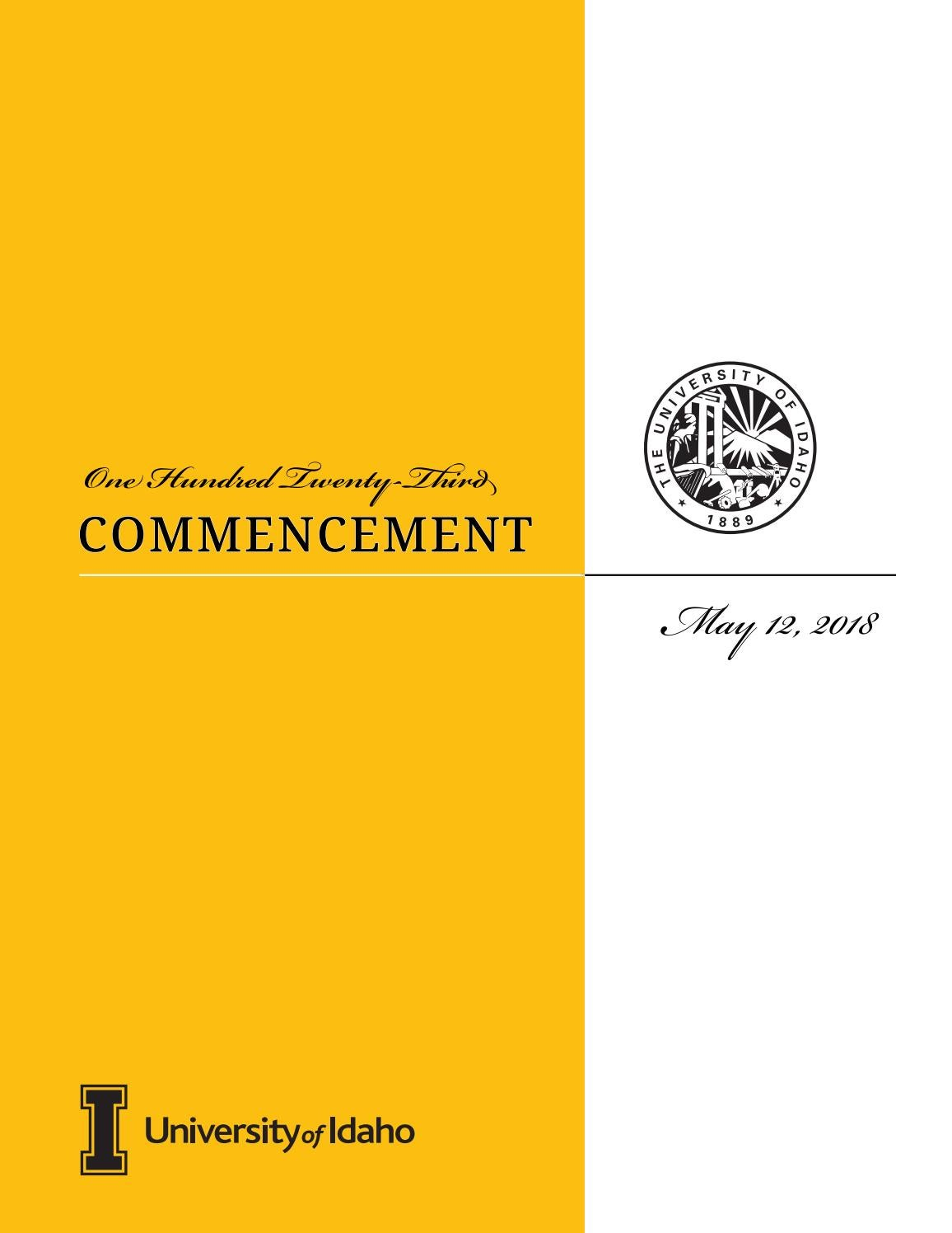 University of Idaho Commencement Program Spring 2018 by The ...