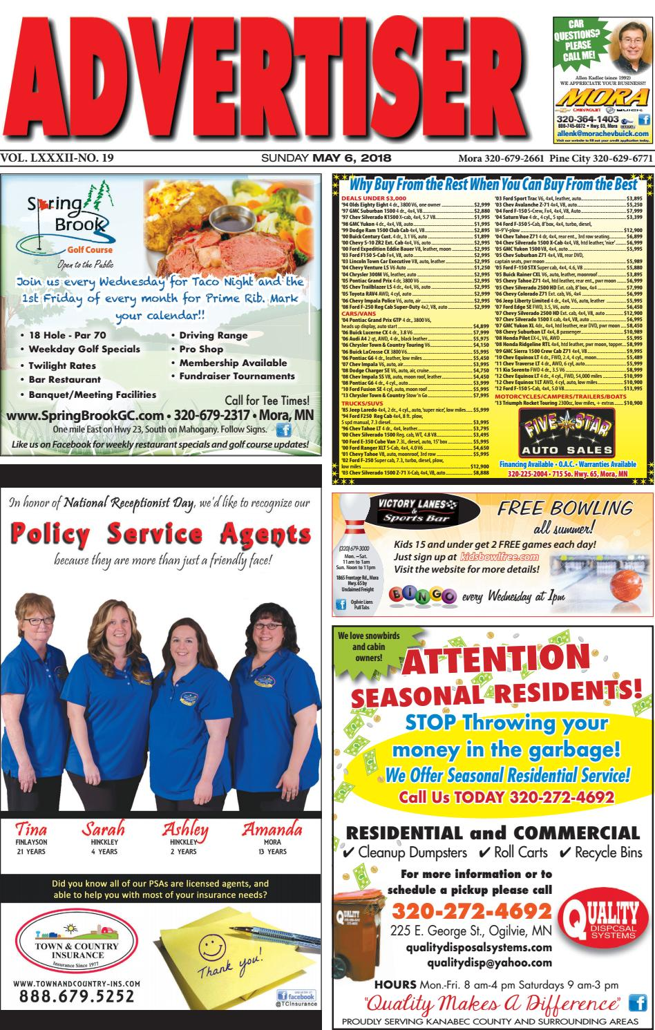 Mora Advertiser 5618 by Kanabec County Times/Pine City Pioneer - issuu