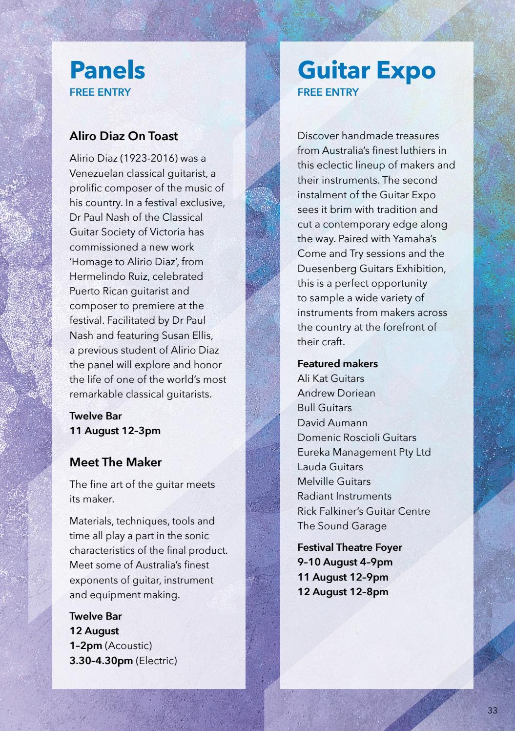 Adelaide Guitar Festival 2018 brochure by Adelaide Festival