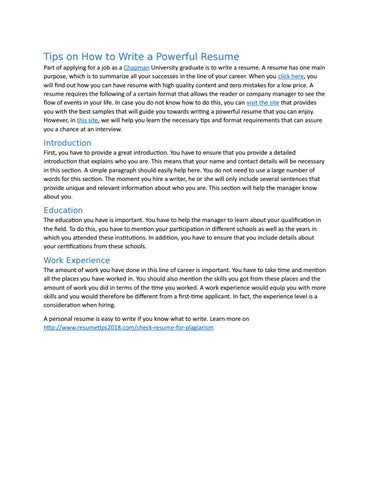 Tips On How To Write A Powerful Resume By Yopmail4881 Issuu