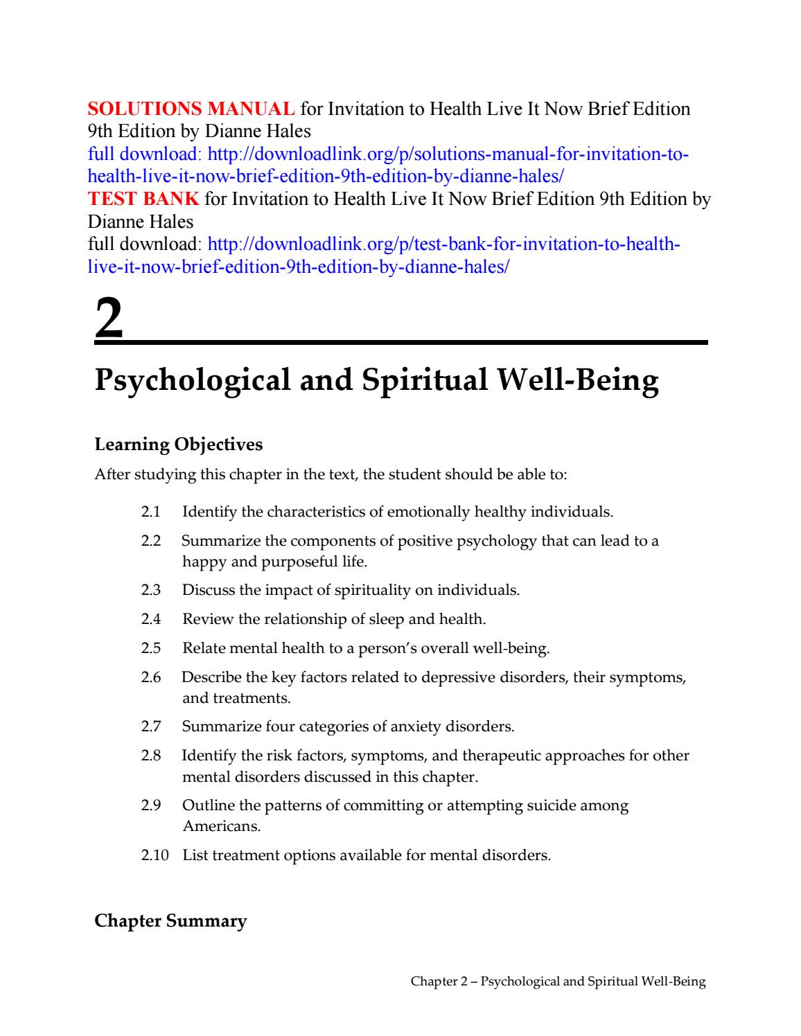 Solutions Manual For Invitation To Health Live Brief