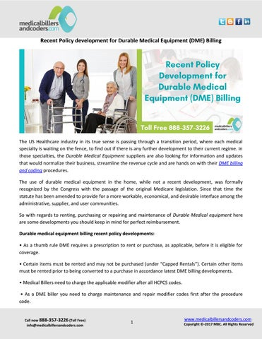 Recent policy development for durable medical equipment (dme