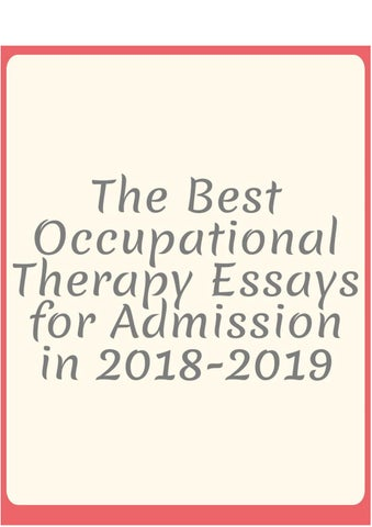 Occupational therapy essays