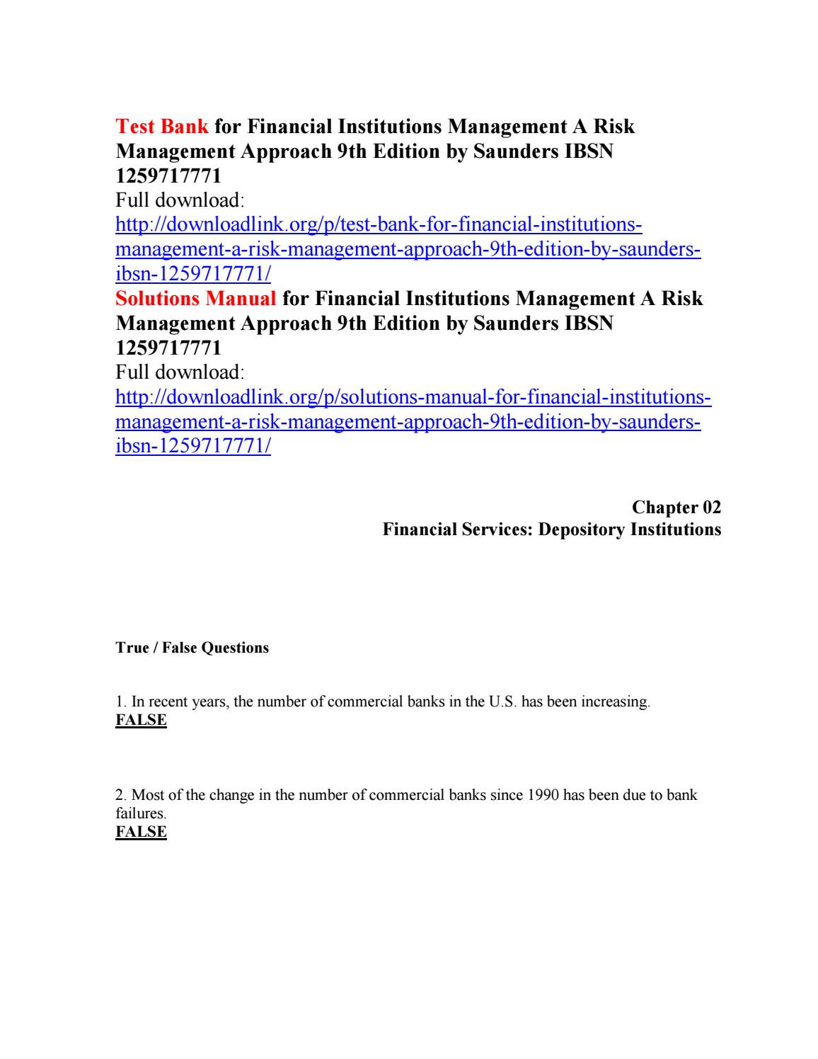 Test bank for financial institutions management a risk management approach  9th edition by saunders i by Trites111 - issuu