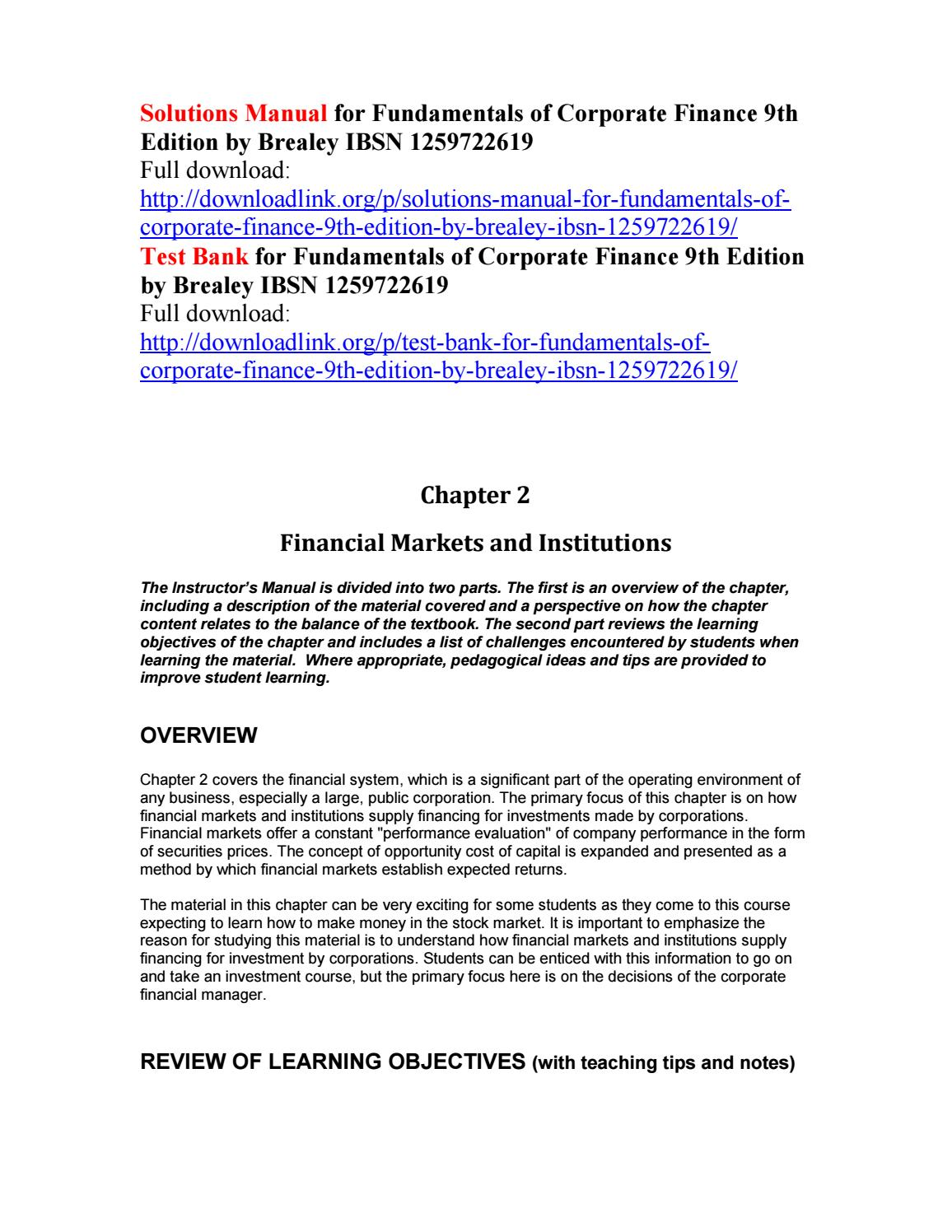 Solutions manual for fundamentals of corporate finance 9th edition by  brealey ibsn 1259722619 by Trites111 - issuu