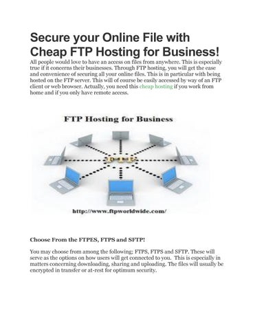 Secure your Online File with Cheap FTP Hosting for Business
