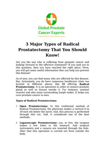 3 Major Types Of Radical Prostatectomy That You Should Know By