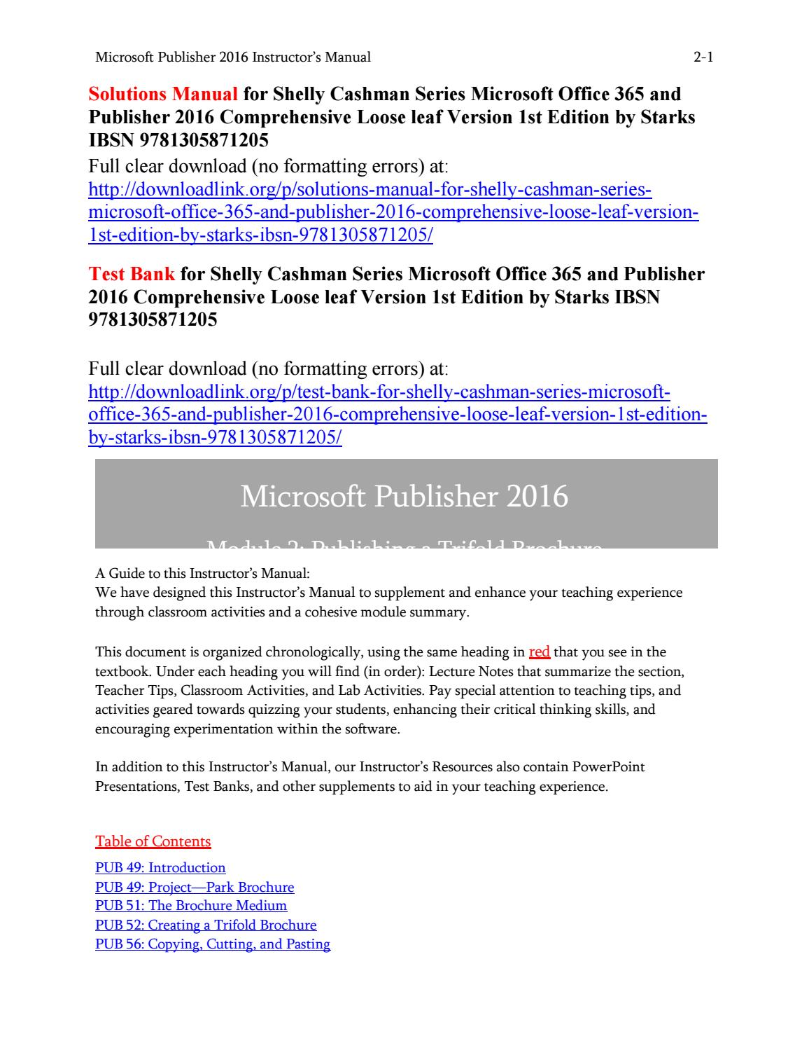 Solutions manual for shelly cashman series microsoft office 365 and  publisher 2016 comprehensive loo by Beskeen723 - issuu