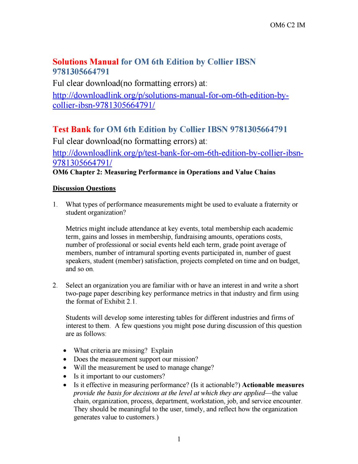 Solutions manual for om 6th edition by collier ibsn 9781305664791 by  Beskeen723 - issuu