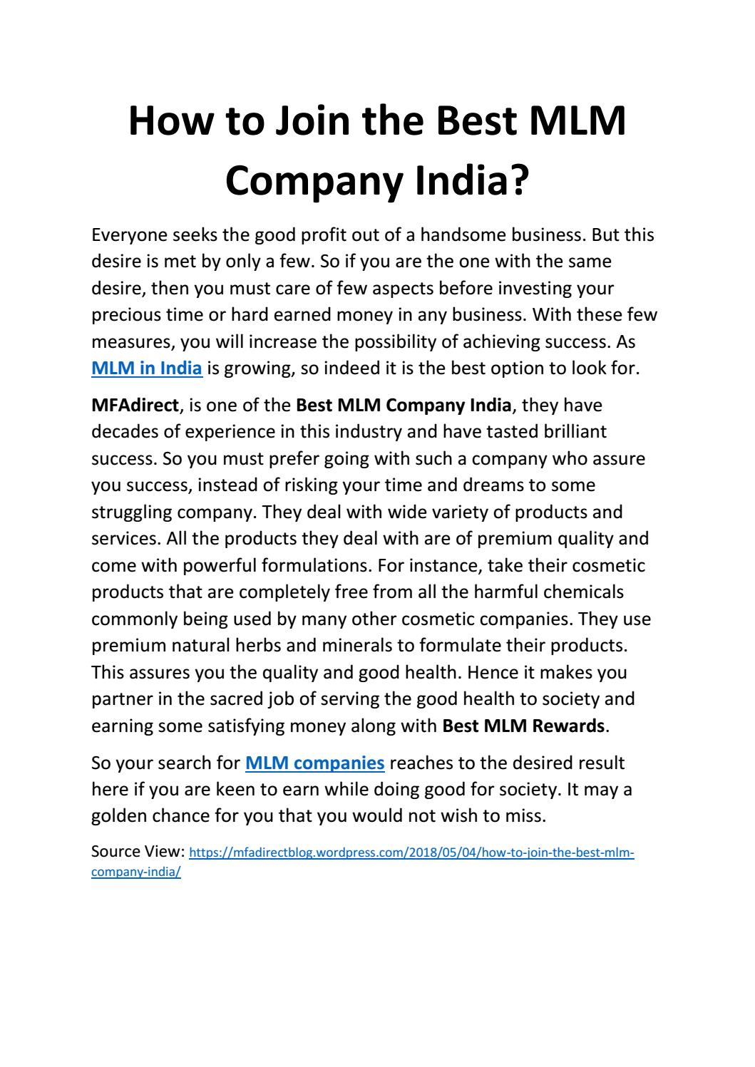 How to join the best mlm company india by directmfa - issuu