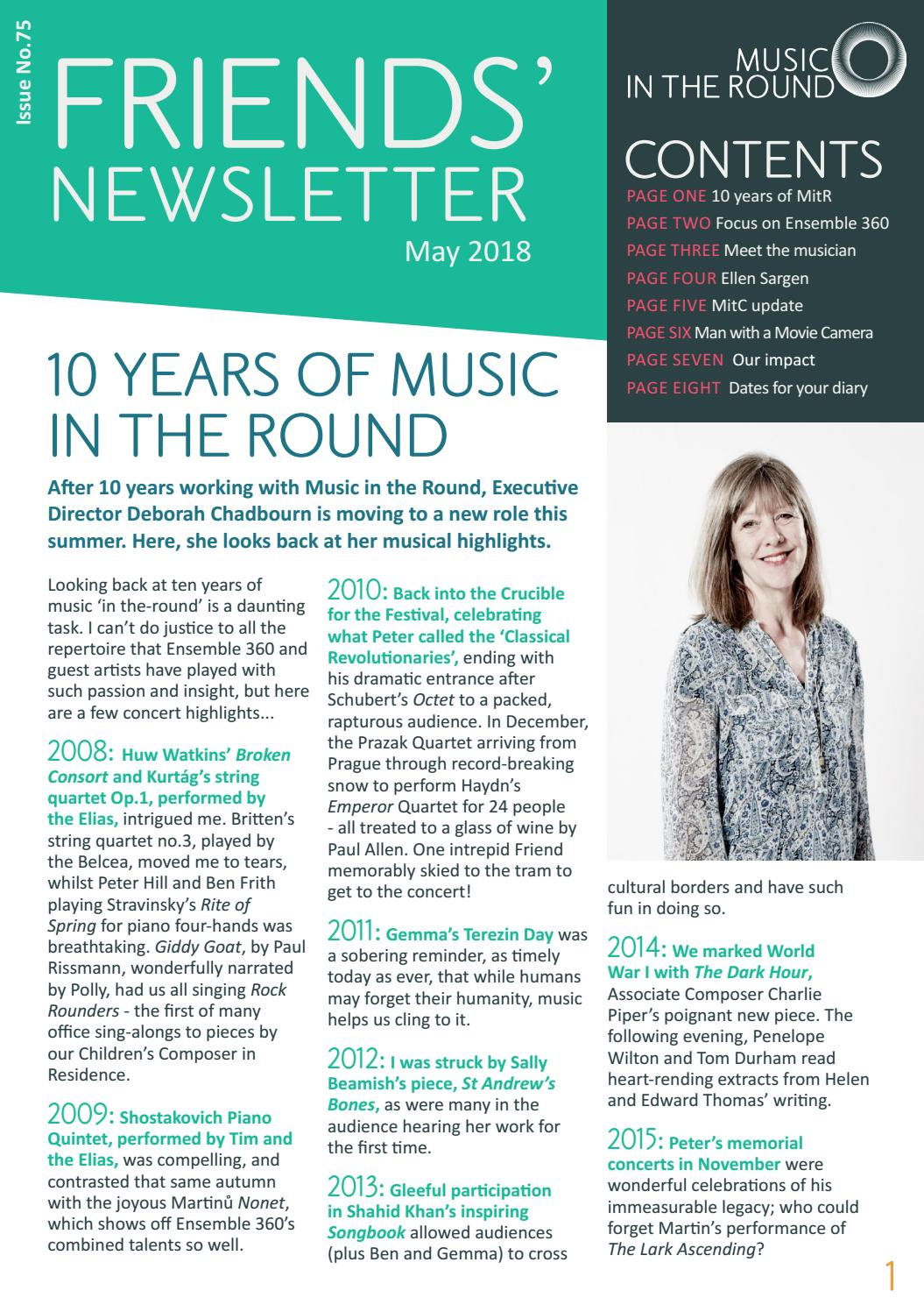 Friends' newsletter May 2018 by Music in the Round - issuu