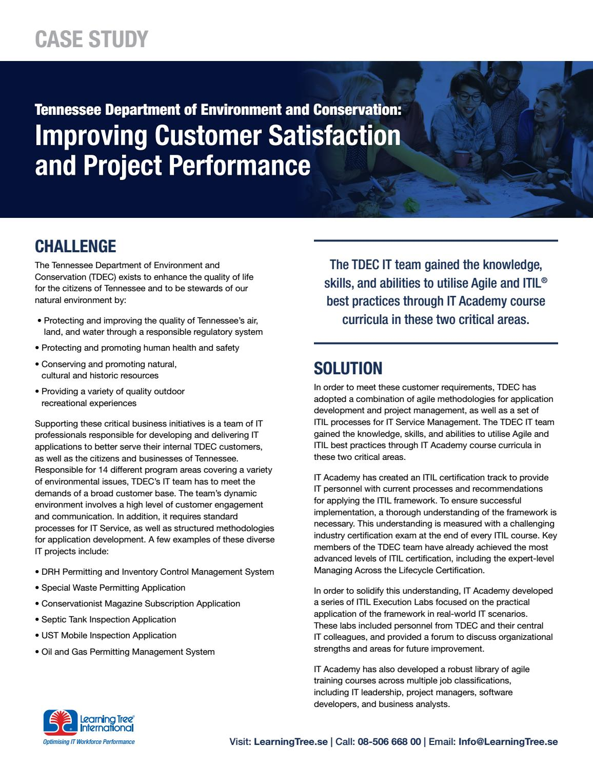 Improving Customer Satisfaction And Project Performance Se By