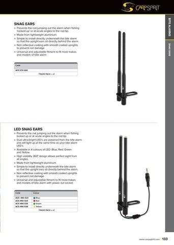 Snag Bars x1 Black Lightweight For Bite Alarms Carp Fishing Snag Ears