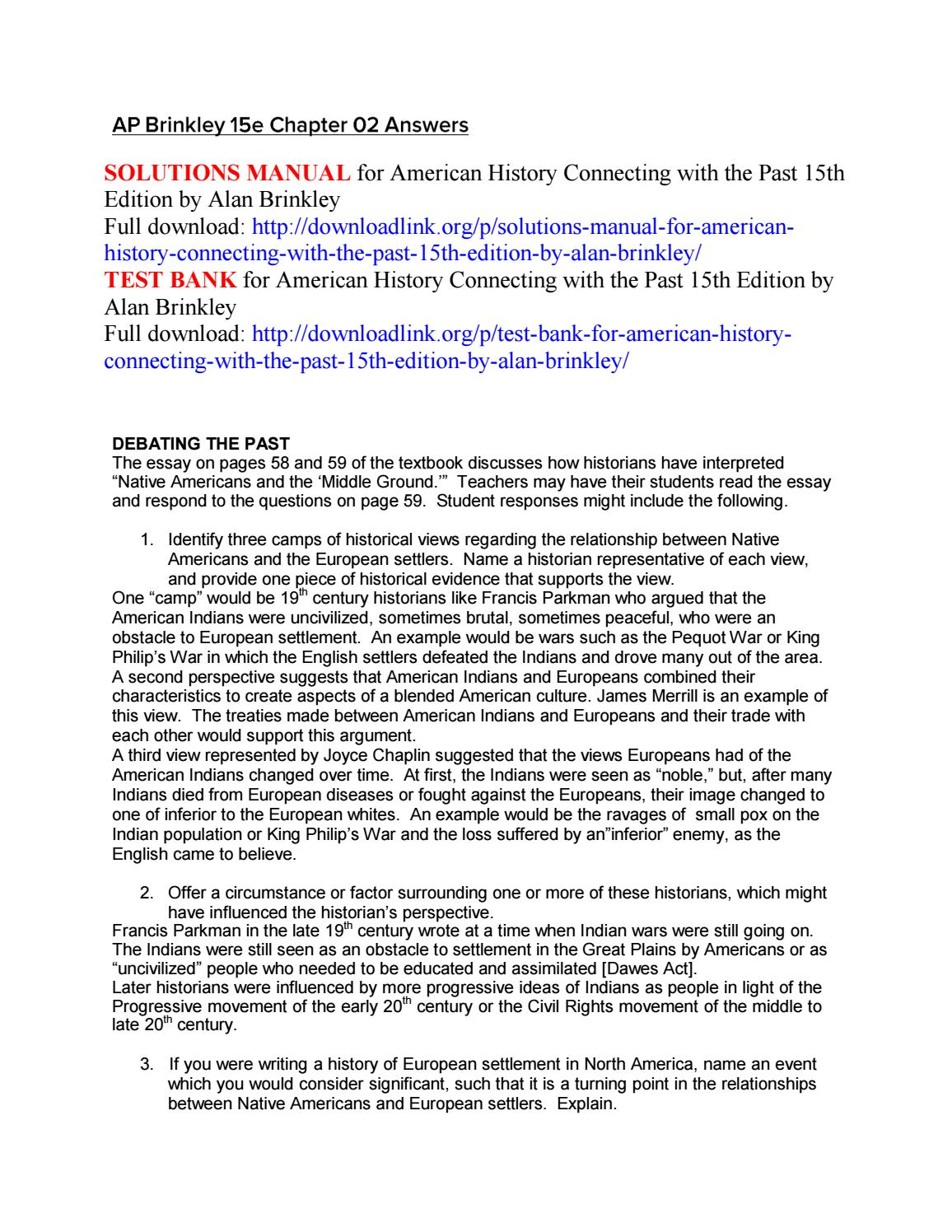 Narrative Essay Papers Solutions Manual For American History Connecting With The Past Th Edition  By Alan Brinkley By Lucief  Issuu Essay On Myself In English also English Essay Books Solutions Manual For American History Connecting With The Past Th  Where Is A Thesis Statement In An Essay