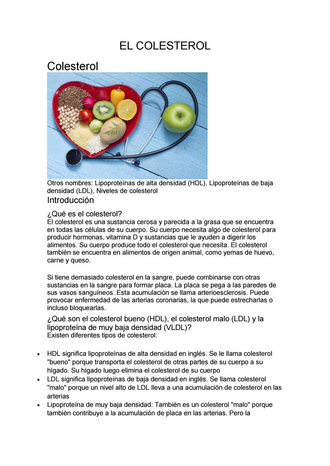 clases de colesterol bueno y malo