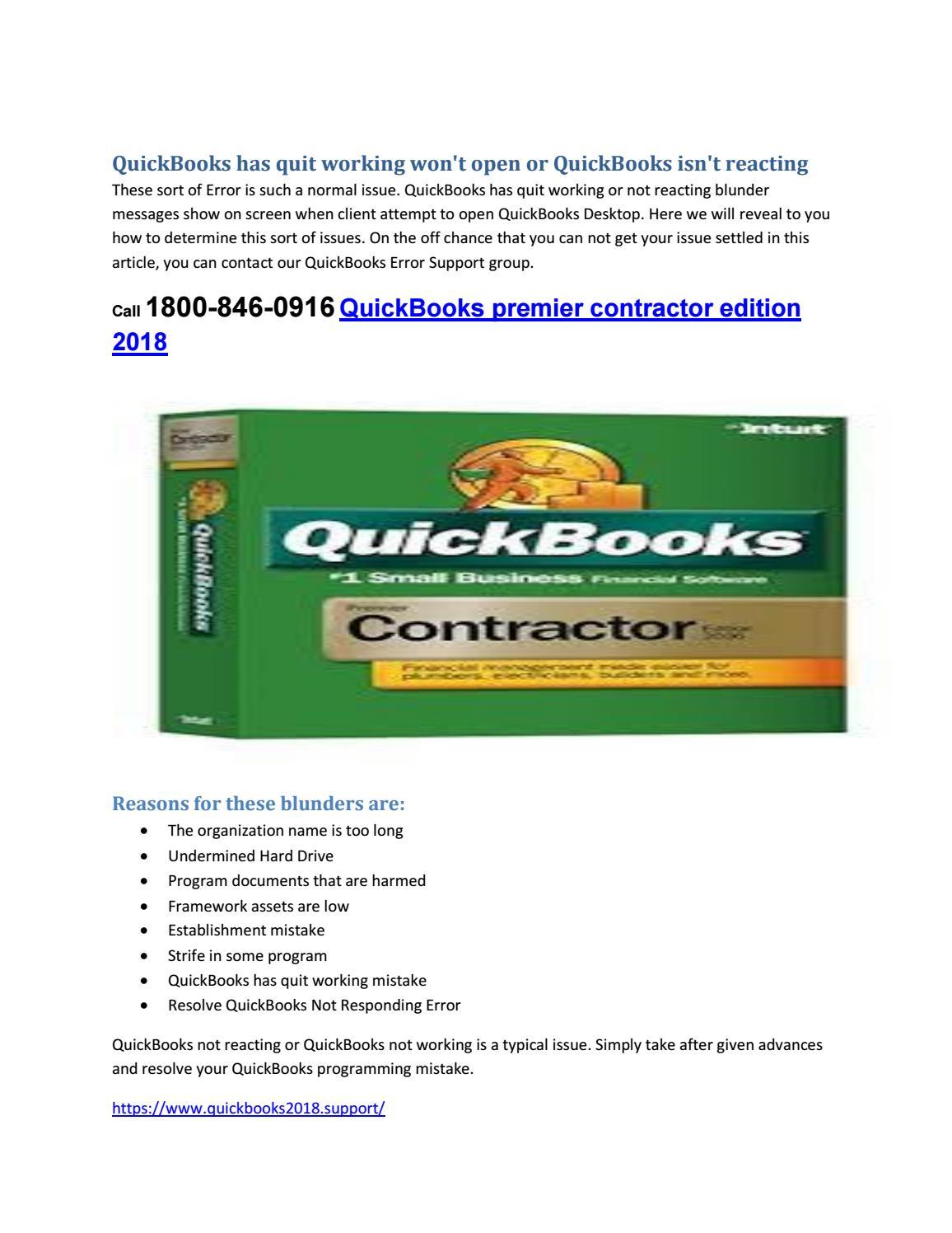 Call 1800 846 0916 quickbooks premier contractor edition