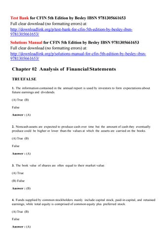 Test Bank For Cfin 5th Edition By Besley Ibsn 9781305661653