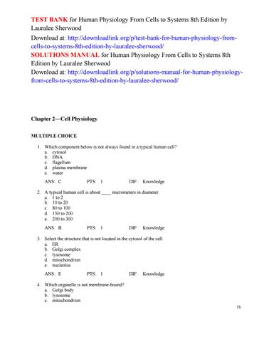 Human Physiology Sherwood 8th Edition Pdf