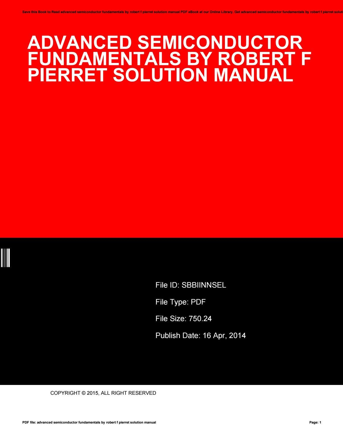 Advanced semiconductor fundamentals by robert f pierret solution manual by  uacro771 - issuu