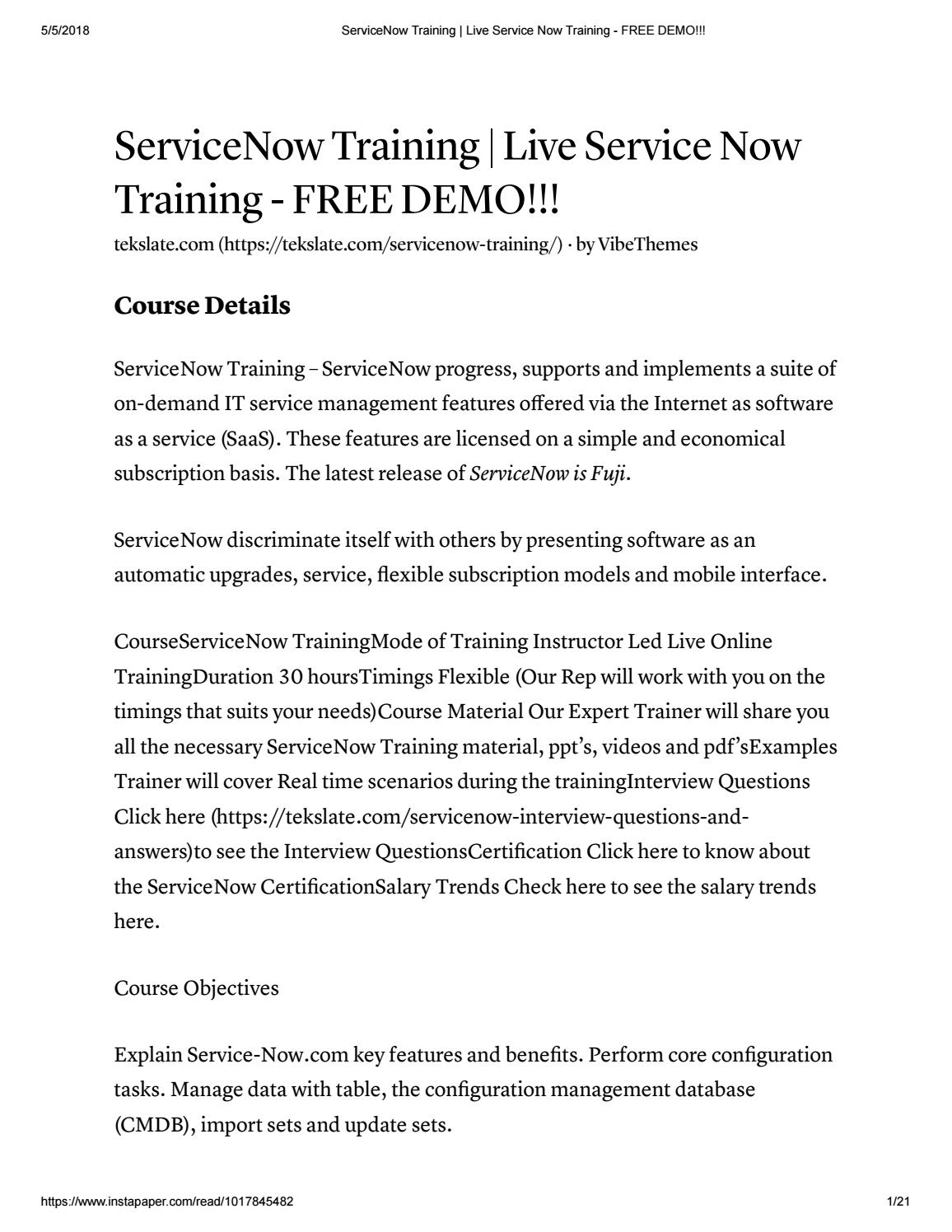 Servicenow training live service now training free demo