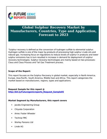 Global sulphur recovery market by manufacturers, countries
