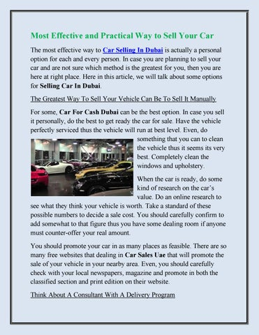 Car Selling Websites >> Most Effective And Practical Way To Sell Your Car By