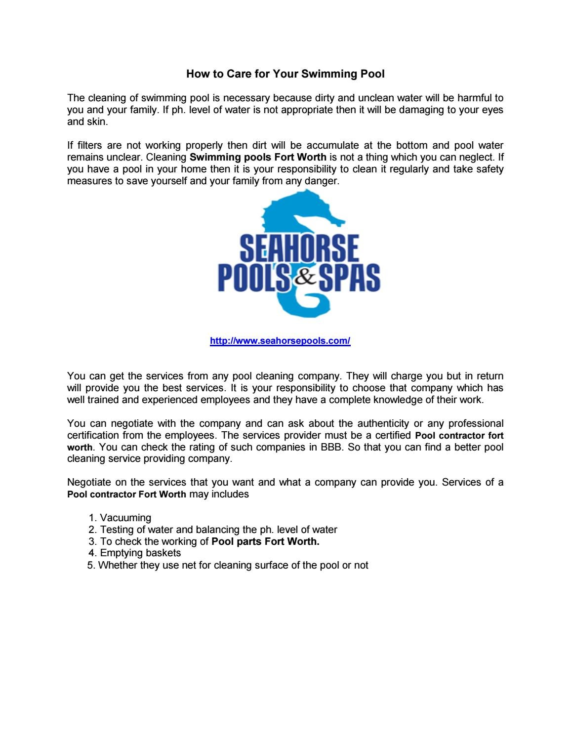 How to care for your swimming pool by David Smith - issuu