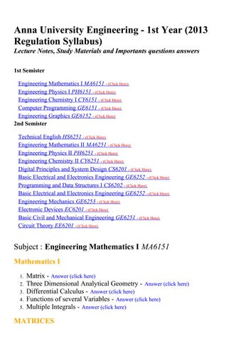 anna university i year engineering 2013 regulation lecture notes