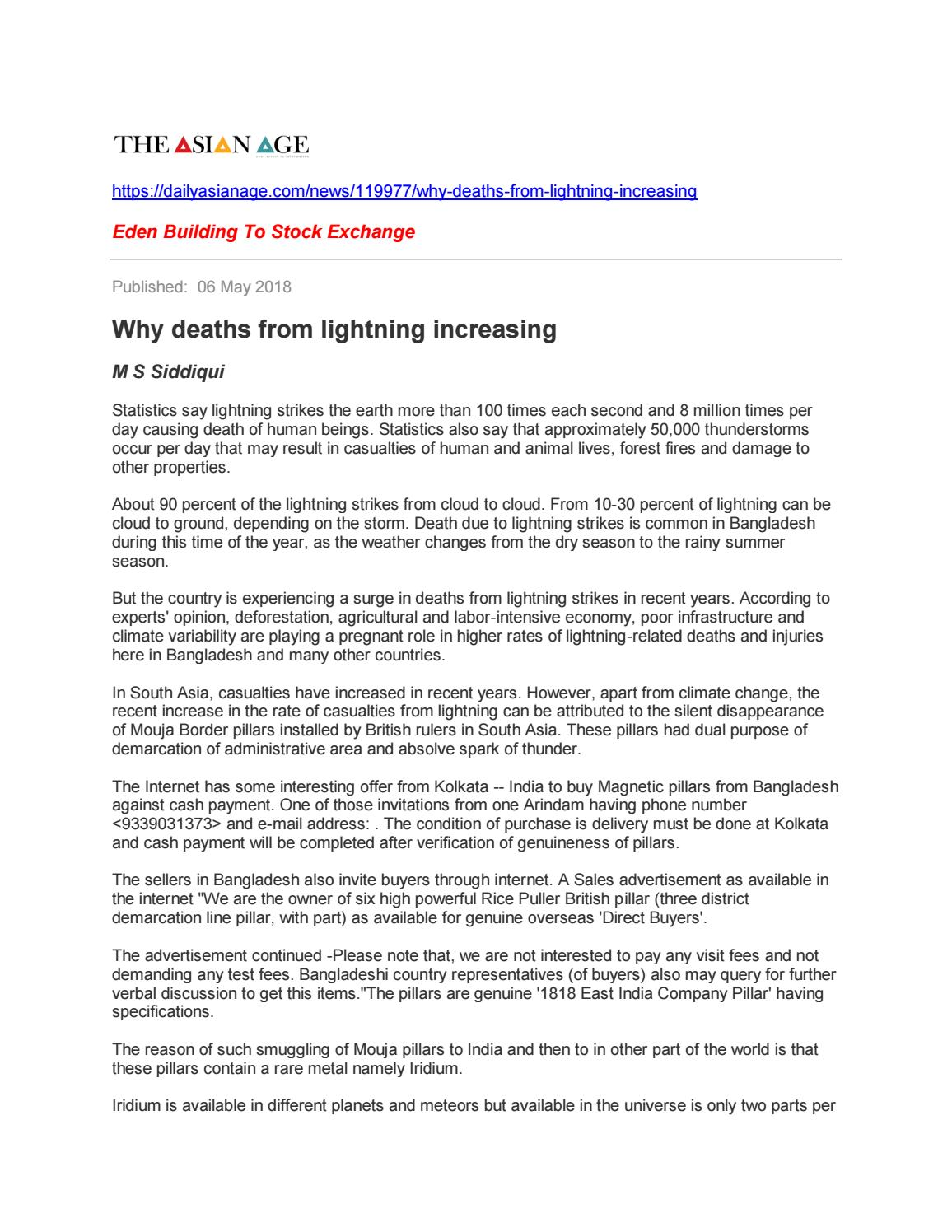 Why deaths from lightning increasing by Mohammad Shahjahan Siddiqui