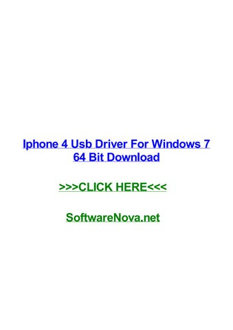 Iphone 4 usb driver for windows 7 64 bit download by