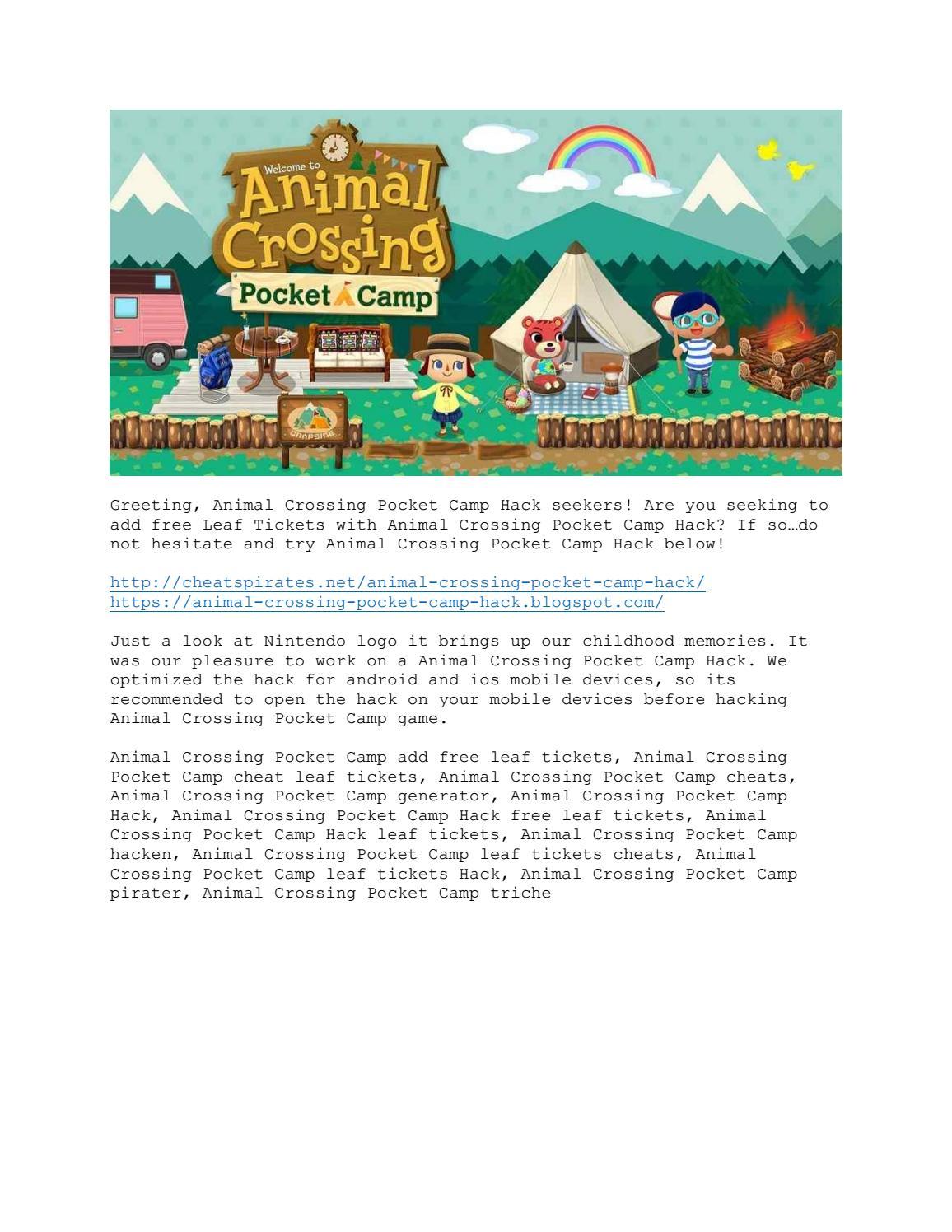 Animal Crossing Pocket Camp Hack Leaf Tickets By Animal Crossing