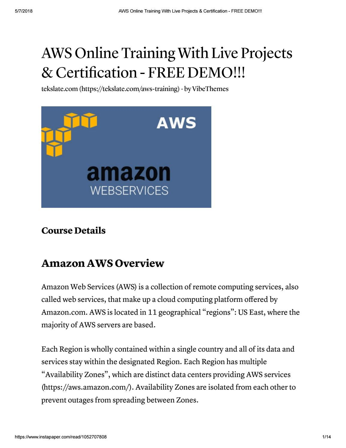 Aws online training with live projects & certification free