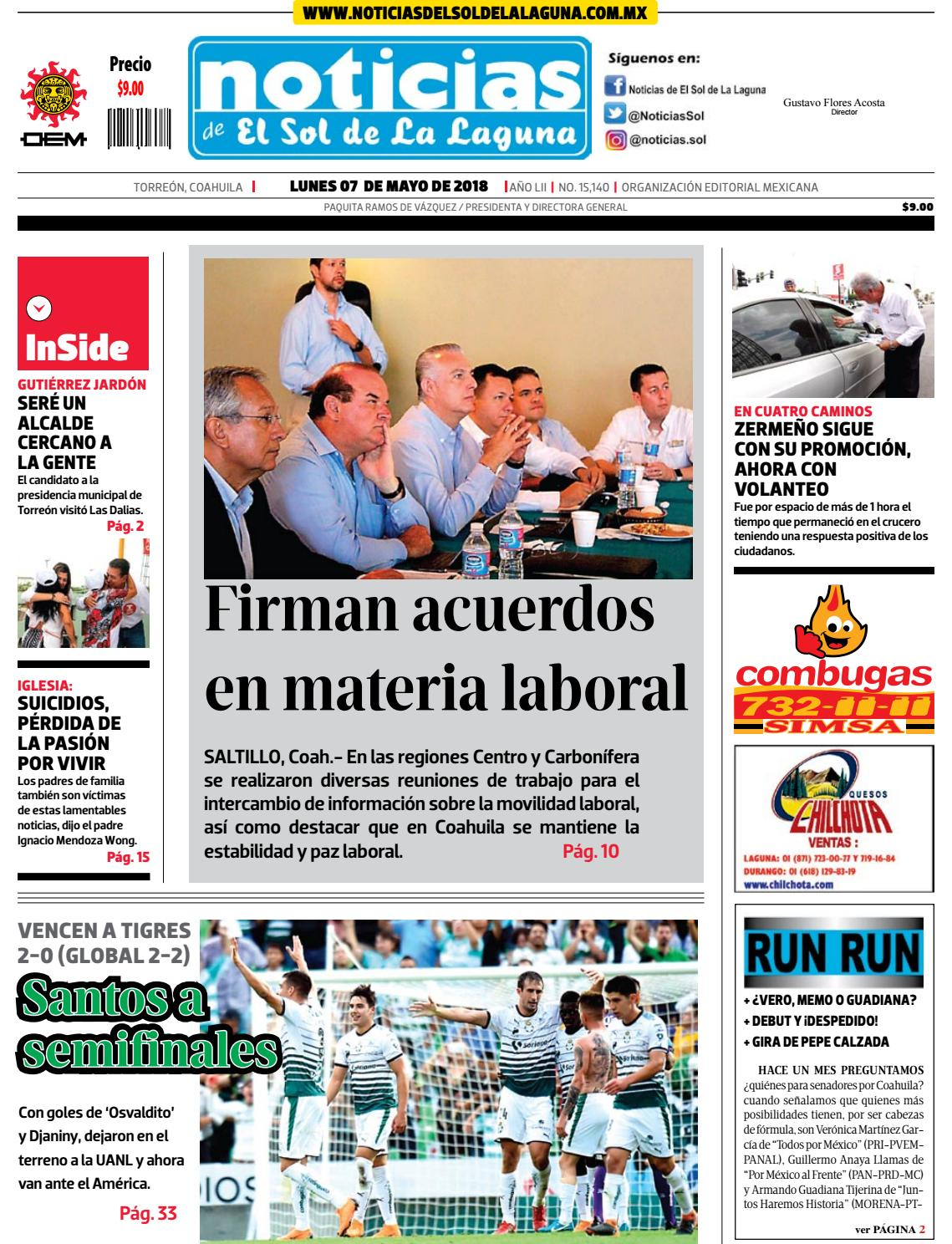 Elsoldelalaguna 07may 18 by noticiasdelsoldelalaguna6 - issuu 19a29f13bc682