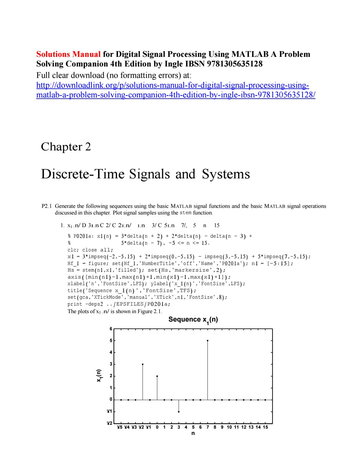 Solutions manual for digital signal processing using matlab a problem  solving companion 4th edition by Kang486 - issuu