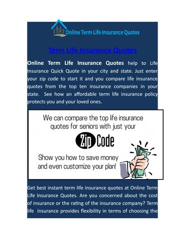 Term Life Insurance Quick Quote By Onlinelifeinsurancequotes Issuu Best Cheap Term Life Insurance Quotes