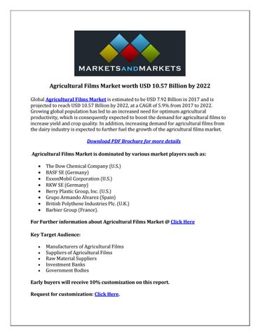 Agricultural films market by Wahid Tamboli - issuu