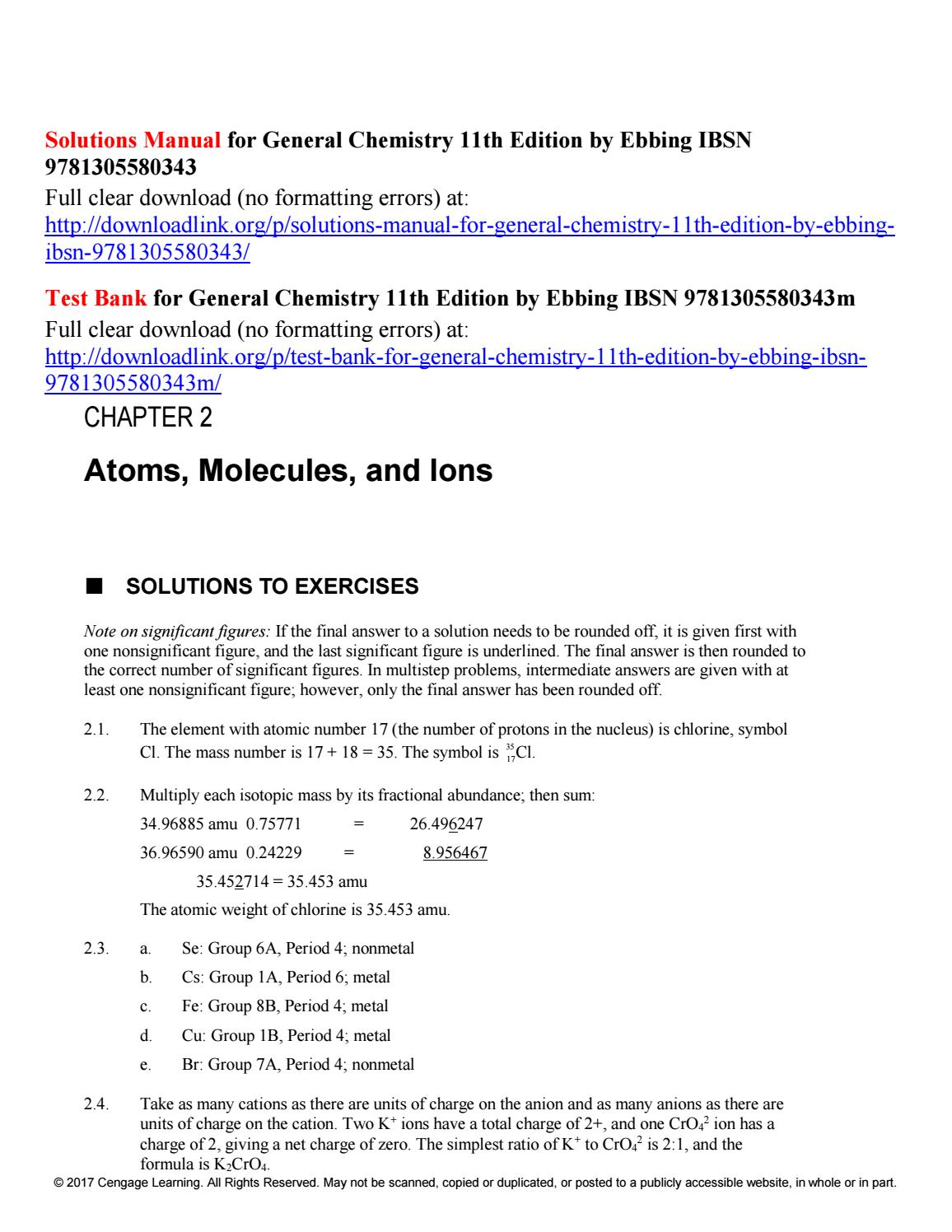 Solutions manual for general chemistry 11th edition by ebbing ibsn  9781305580343 by Ebbing245 - issuu