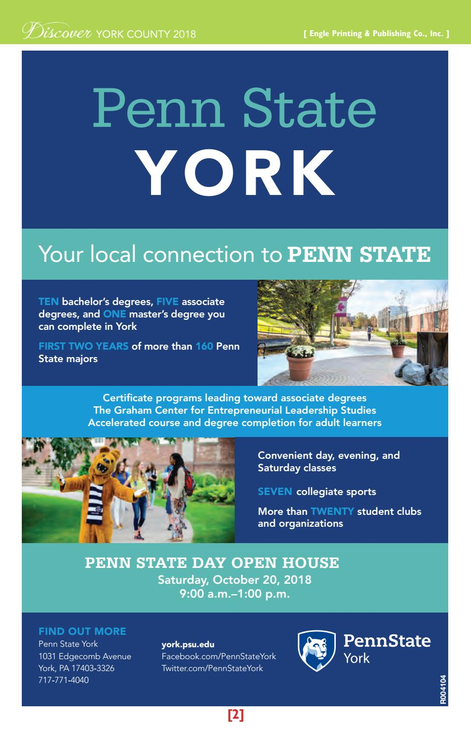 Discover York County 2018 By Engle Printing Publishing Co Inc