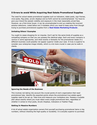 5 Errors To Avoid While Acquiring Real Estate Promotional Supplies The Need For Actual Such As Indicators Stake Posts